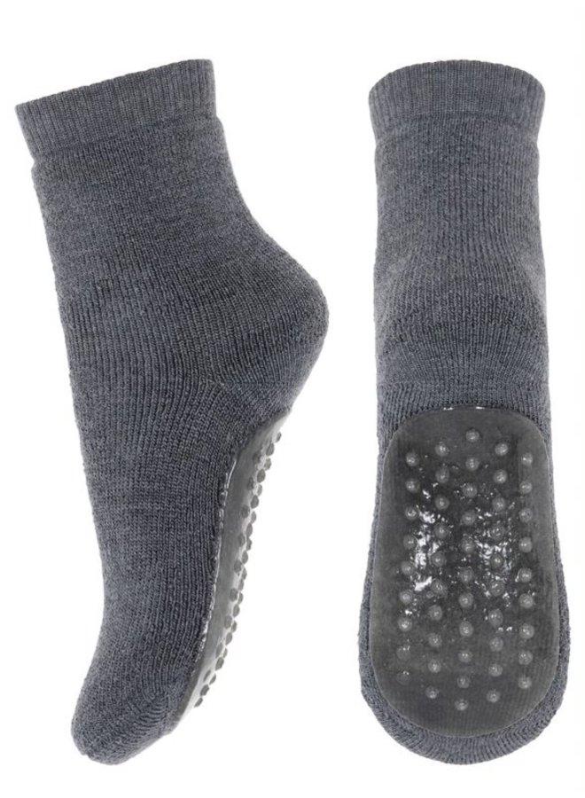 MP Denmark | wool/cotton socks w.anti-slip | dark grey melange