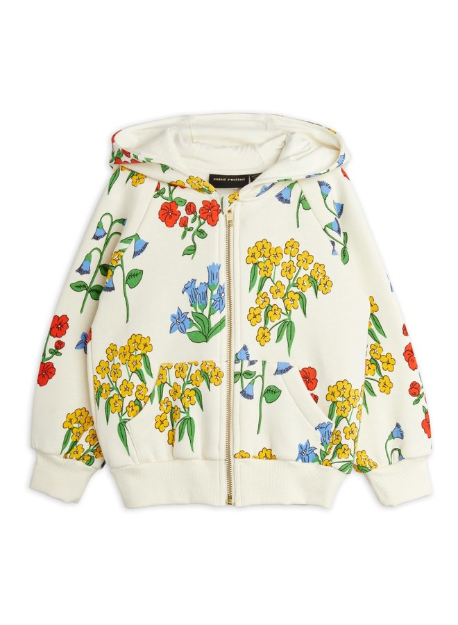 Mini rodini   snow flowers aop zip hoodie   offwhite