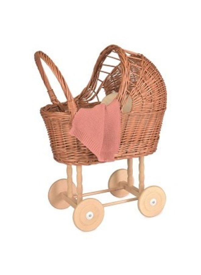 Rieten poppenwagen