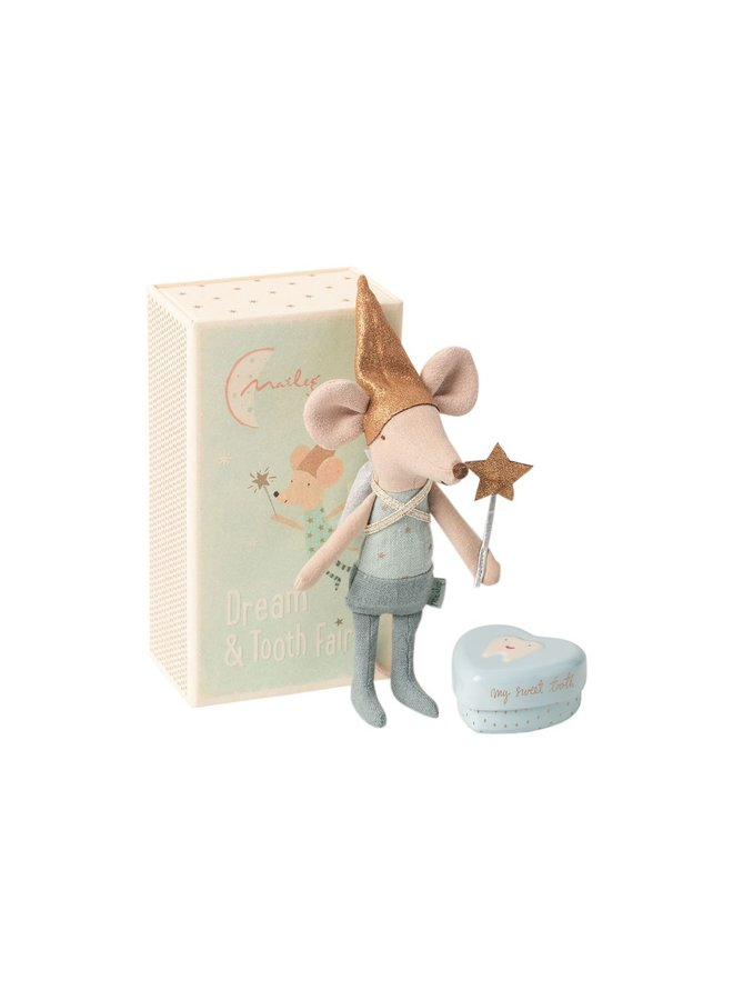 Maileg | tooth fairy mouse in matchbox | blue