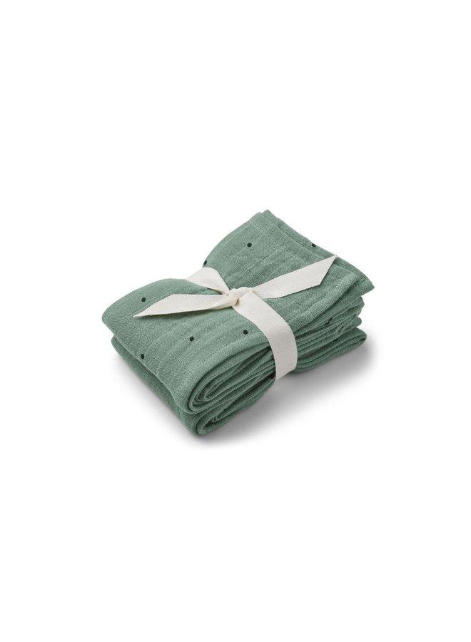 Liewood   lewis muslin cloth   2 pack   classic dot peppermint