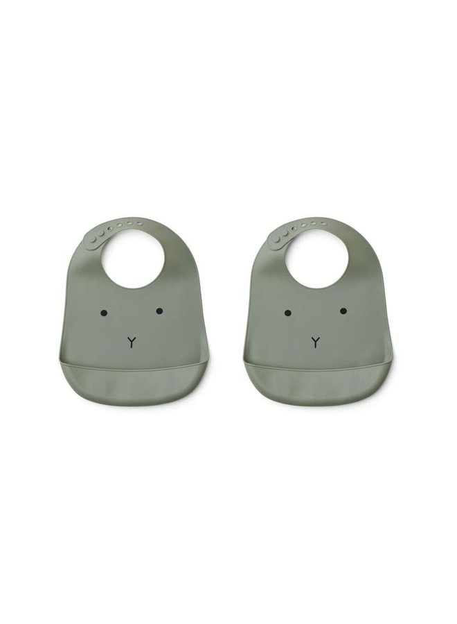 Liewood | tilda silicone bib | 2 pack | rabbit faune green