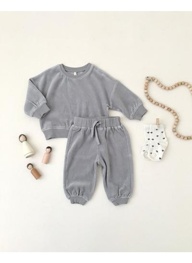 Quincy Mae | relaxed sweatpants | dusty-blue