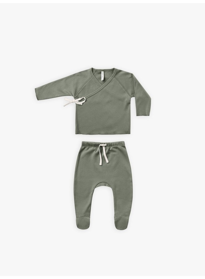 Quincy Mae | wrap top and pant set | basil