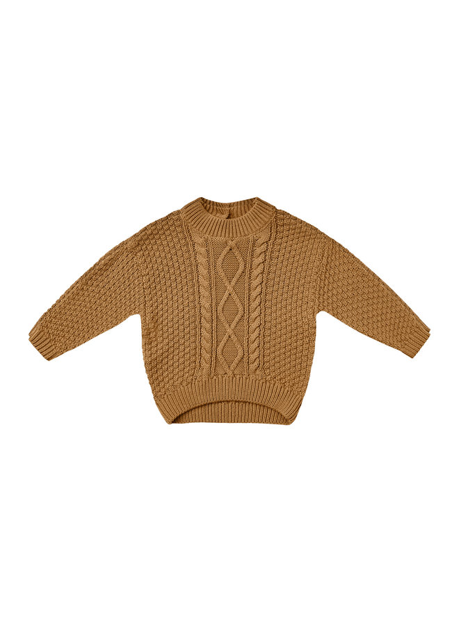 Quincy Mae   cable knit sweater   walnut