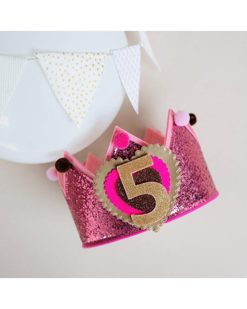 Verjaardagskroon Glitter Old Pink