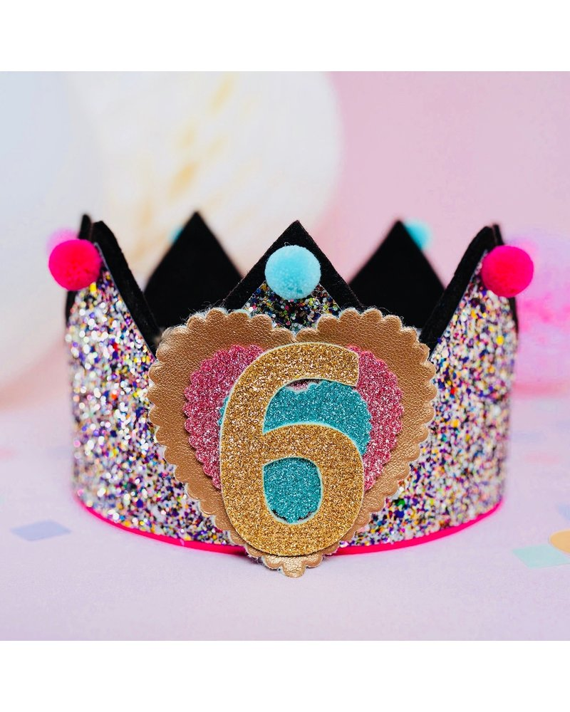 Cijfers en hartje voor de Glitter Multi Mint kroon