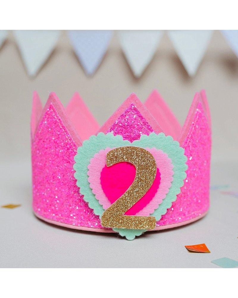 Cijfers en hartje voor de Glitter Neon Pink Kroon