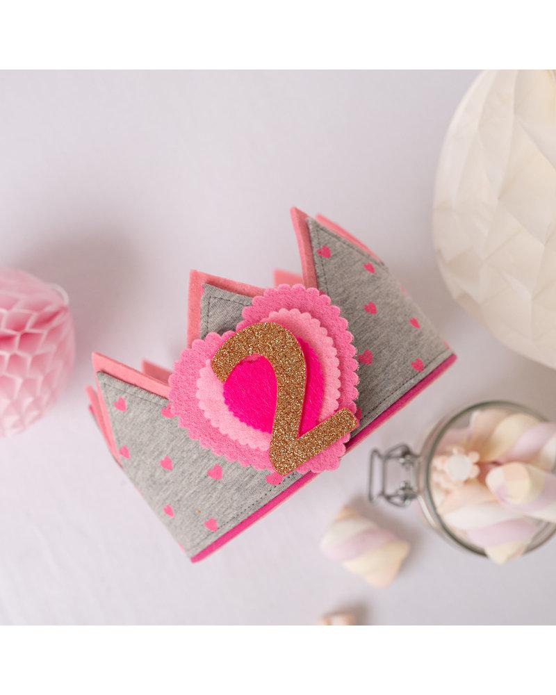 Cijfers en hartje voor de Pretty in Pink Hearts kroon