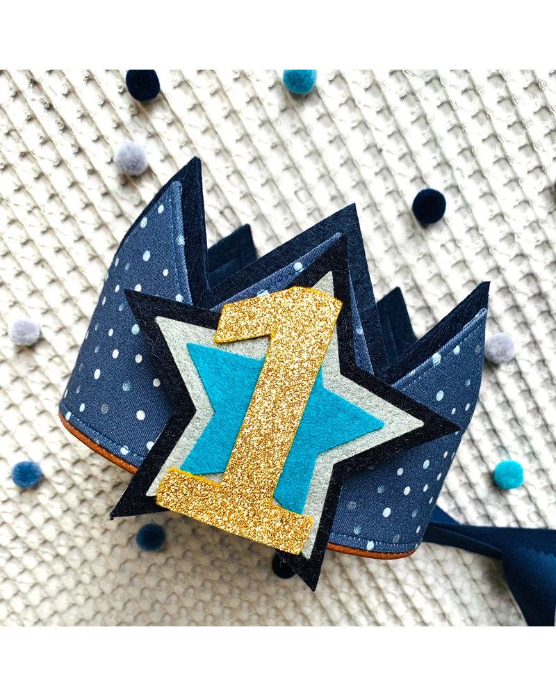 Cijfers en Sterren Confetti Dark Blue