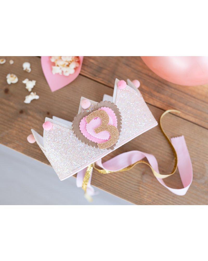 Cijfers en hartje voor het Glitter Crème verjaardagskroontje