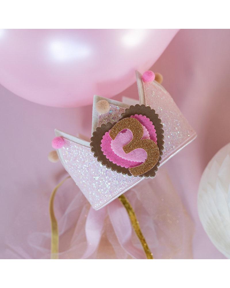 Verjaardagskroon Glitter Soft Pink