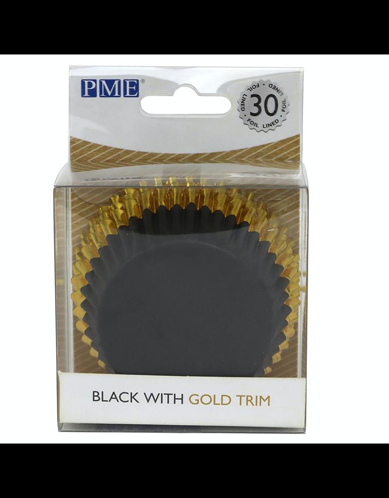 PME Cupcakecup zwart/goud folie 30st