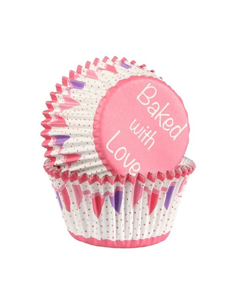 Baked with love Cupcakecup baked with love pink bunting 25st
