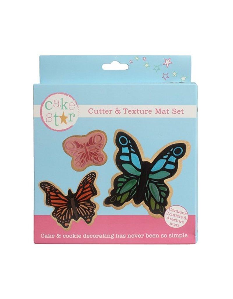 Cake Star Cutter & texture mat set vlinders