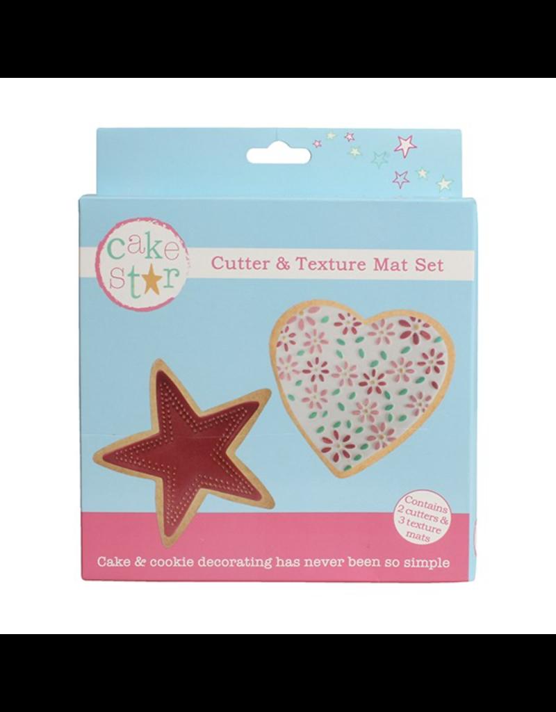 Cake Star Cutter & texture mat set ster en hart