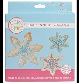 Cake Star Cutter & texture mat set sneeuwvlokjes