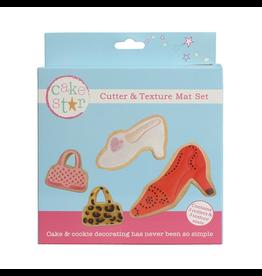 Cake Star Cutter & texture mat set handtas en schoentje