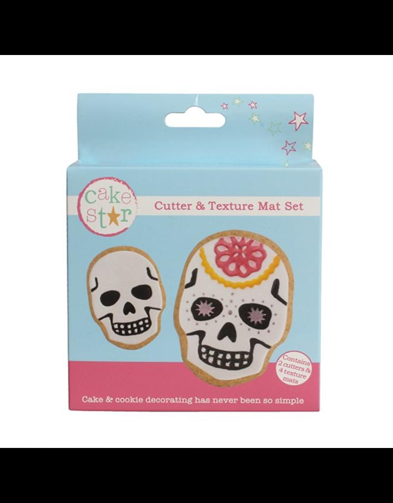Cake Star Cutter & texture mat set scull