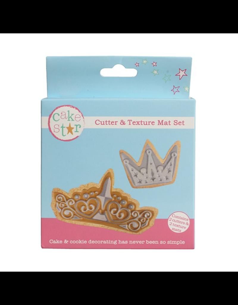 Cake Star Cutter & texture mat set kroontjes