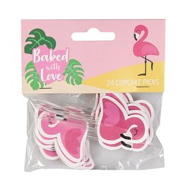 Baked with love Cupcakes prikkers flamingo
