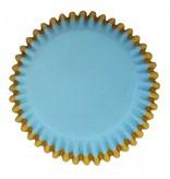 PME Cupcakecup blauw/goud folie 30st