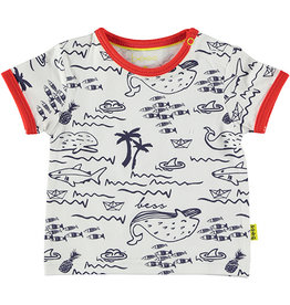 B.E.S.S. Shirt sh.sl. AOP Seaworld, White