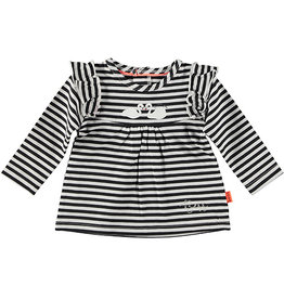 B.E.S.S. Shirt l.sl. Ruffle Striped, Black