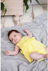 Bampidano New Born Girls romper dress sleeveless allover print, yellow allover