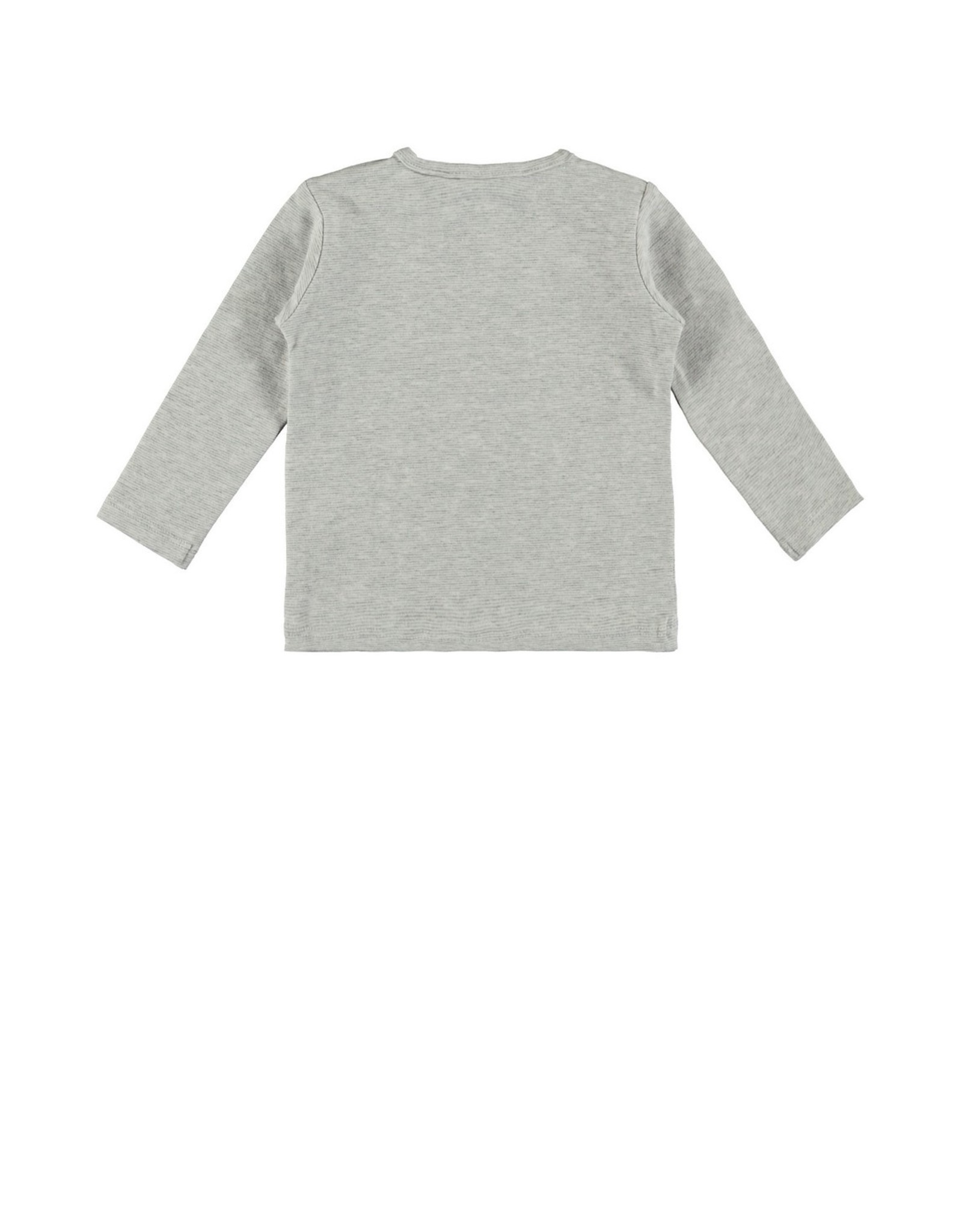 Bampidano New Born T-shirt l/s melange y/d stripe GIVE ME A SMILE, grey melee stripe