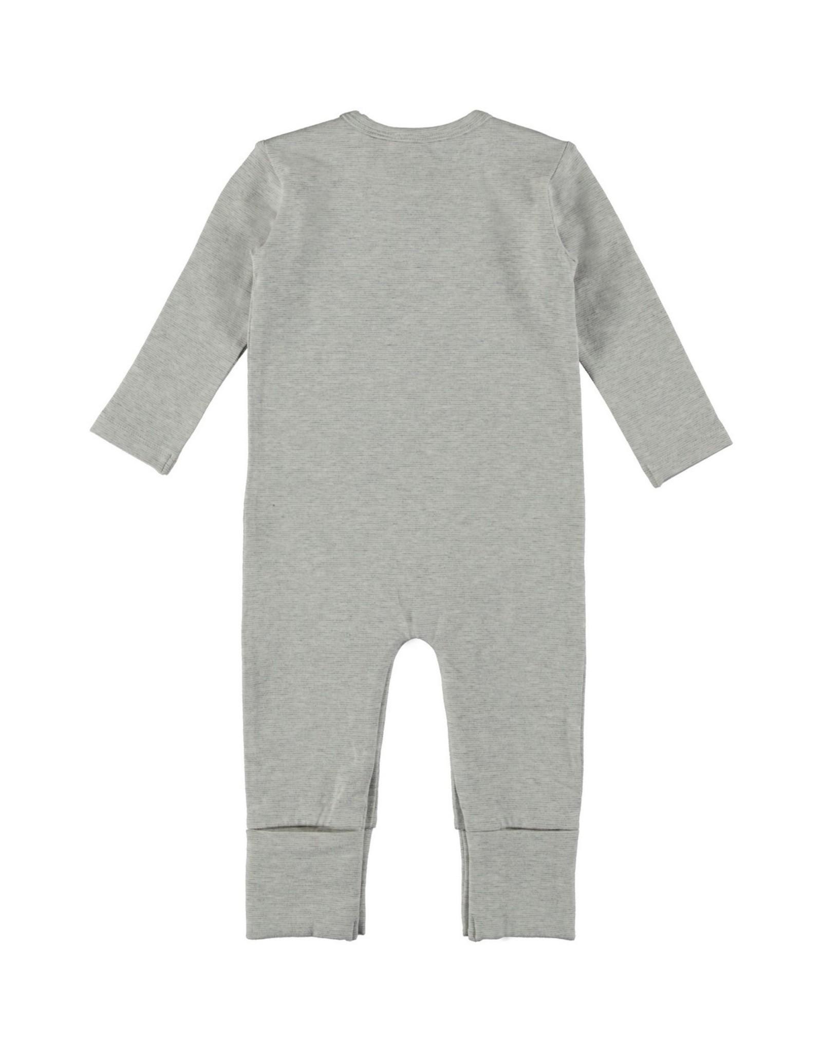 Bampidano New Born overall melange y/d stripe + chest pocket, grey melee stripe