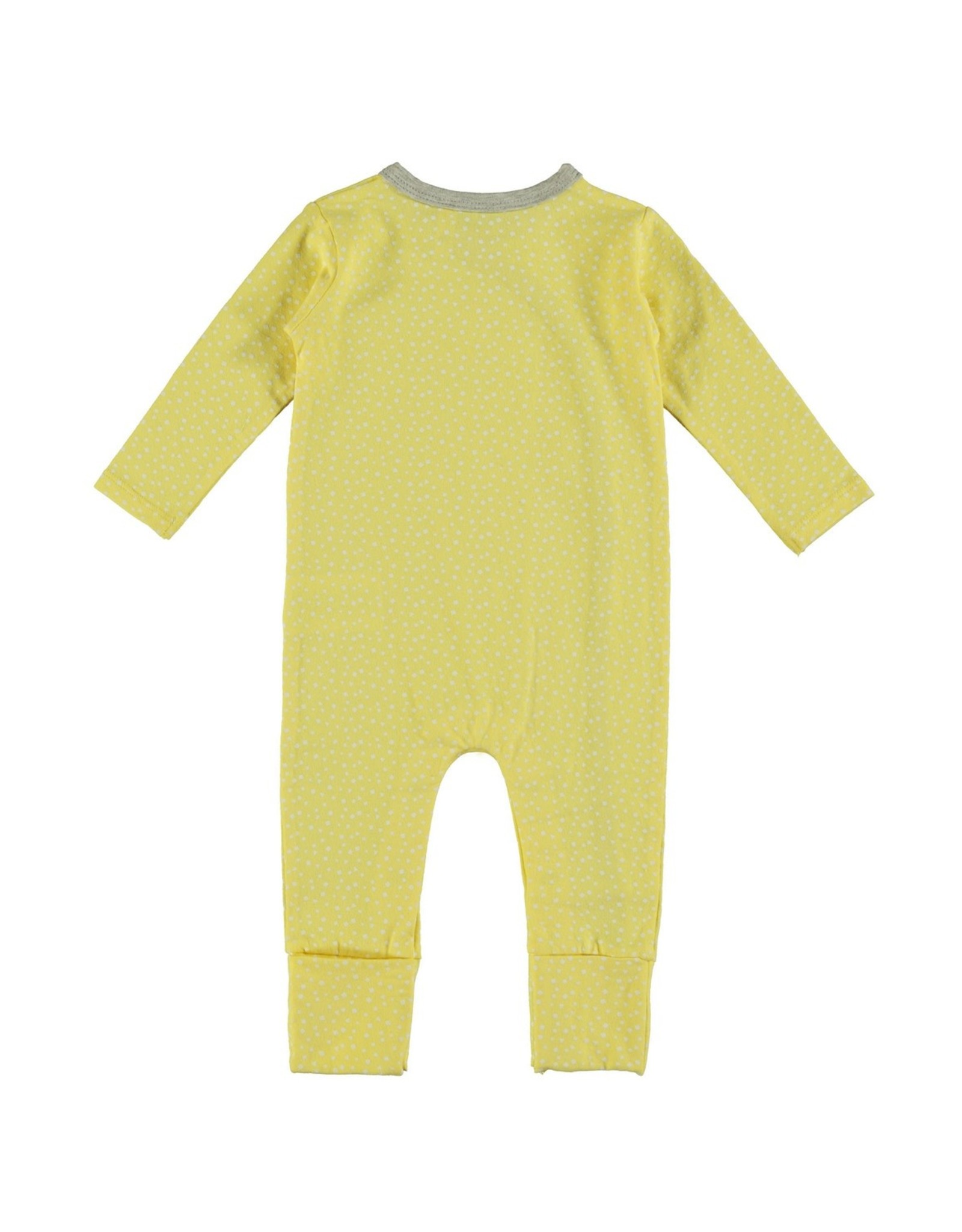 Bampidano New Born overall allover print with envelope feet, yellow allover