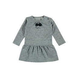 Bampidano New Born Girls dress l/s melange piqué with bow, soft green melee