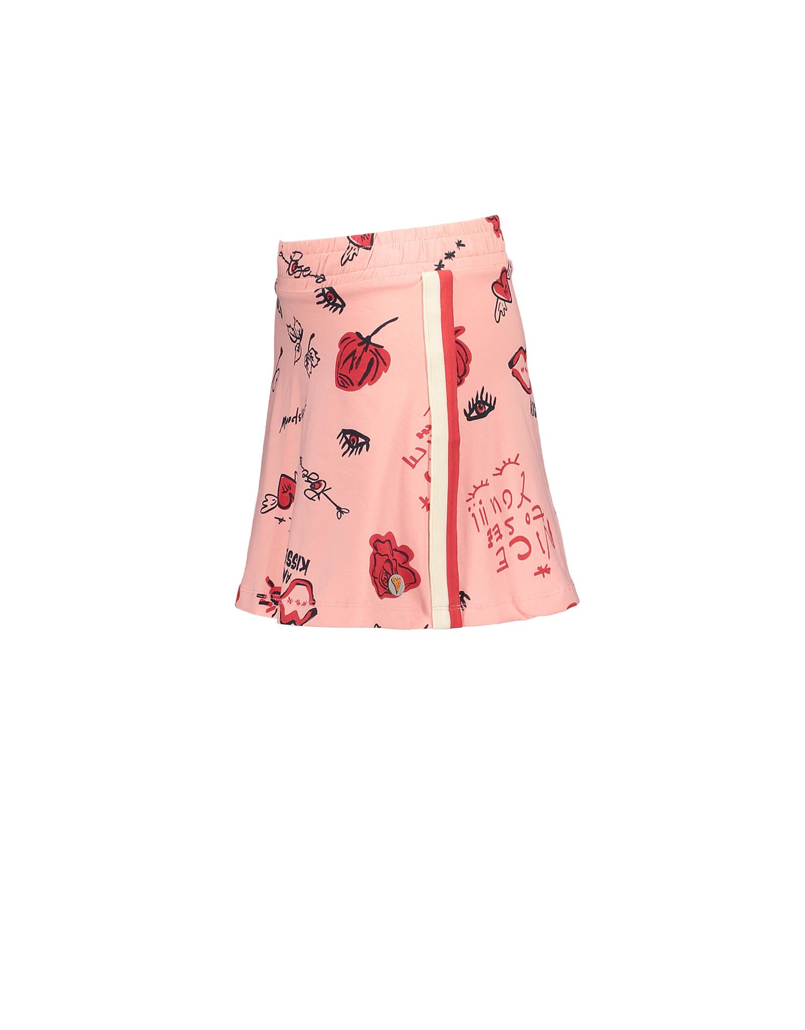 Moodstreet MT skirt AOP nice to see you, Light pink