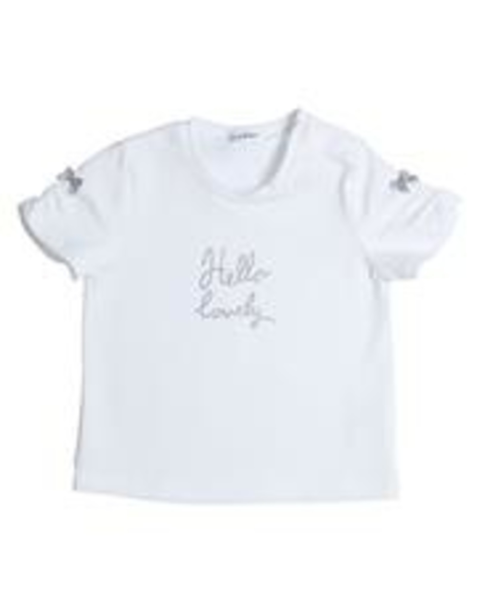 Gymp T-SHIRT ELASTIC HELLO LOVELY -, WIT/ZILVER