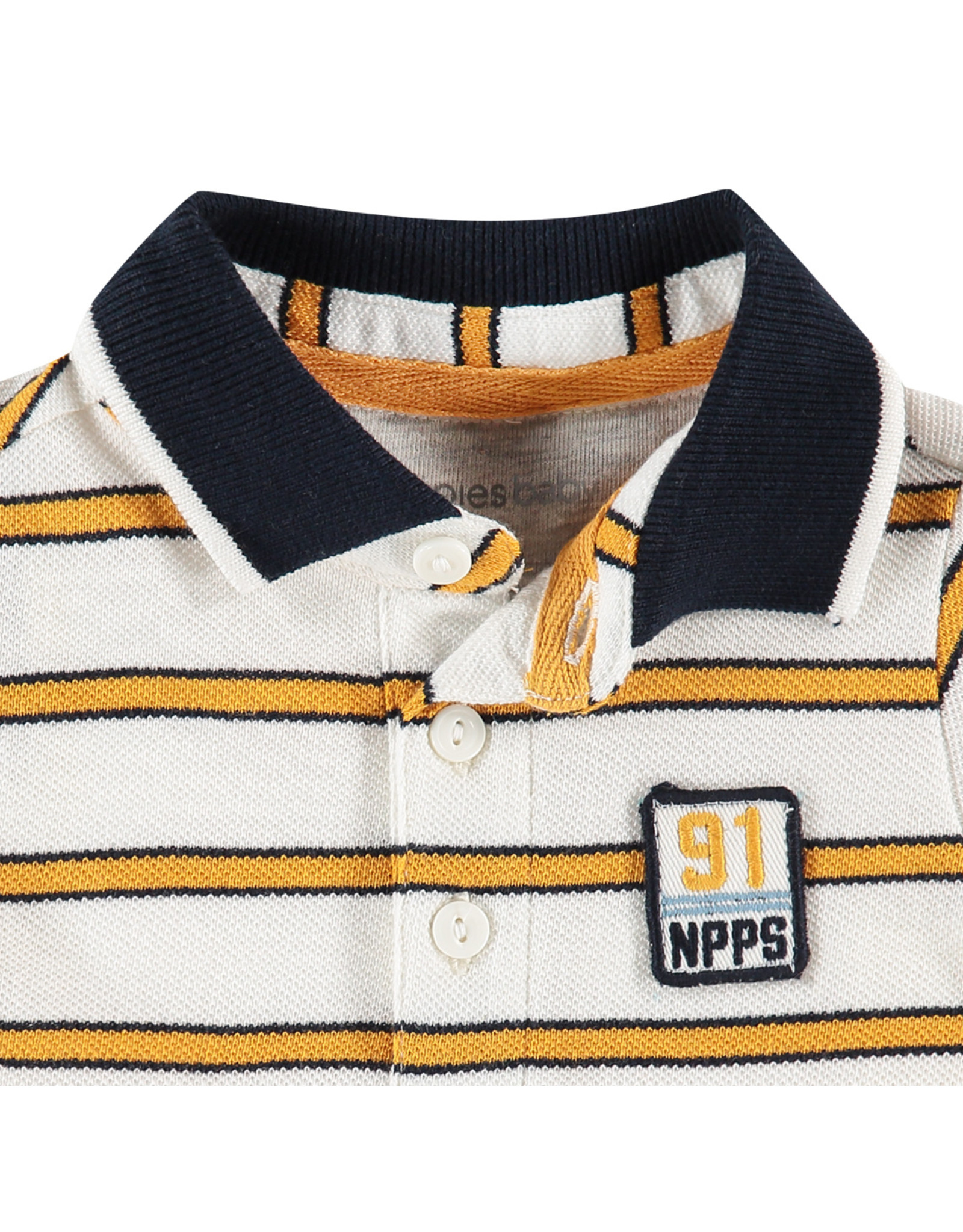 Noppies B Regular Polo ss Asheville Y/D str, Whisper White