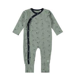 Bampidano New Born overall allover print with envelope feet, soft green AO
