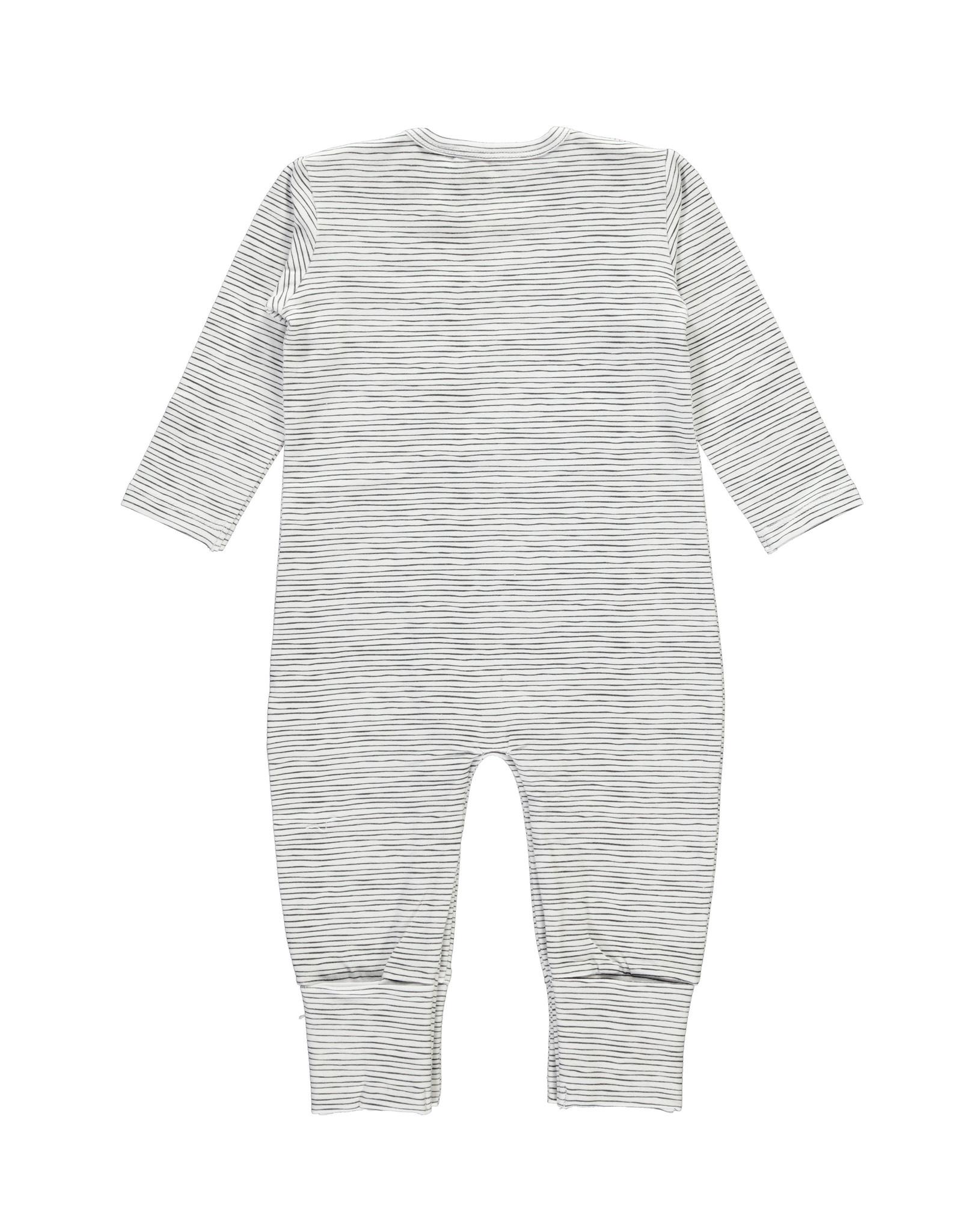 Bampidano New Born overall printed stripe with envelope feet, black/white stripe