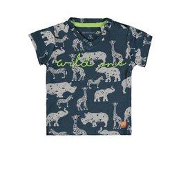 Bampidano Baby Boys T-shirt s/s V-neck allover print WILD ONE, blue aop