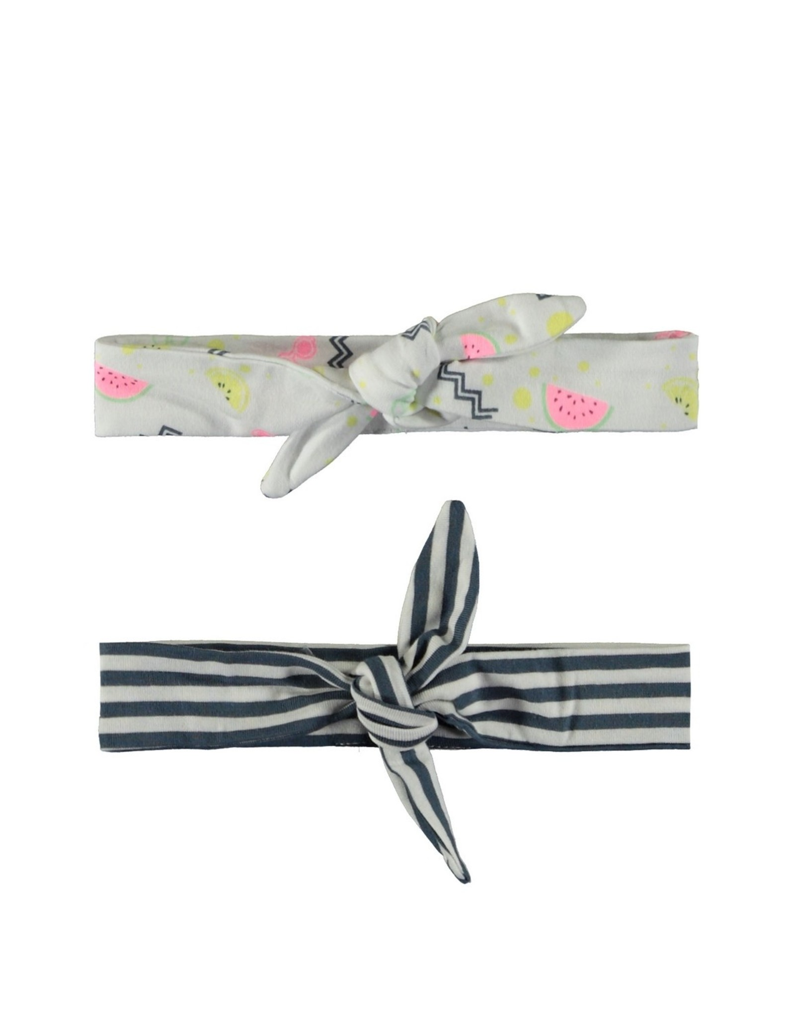 Bampidano Baby Girls head band set allover print + y/d stripe 2-pack, allover