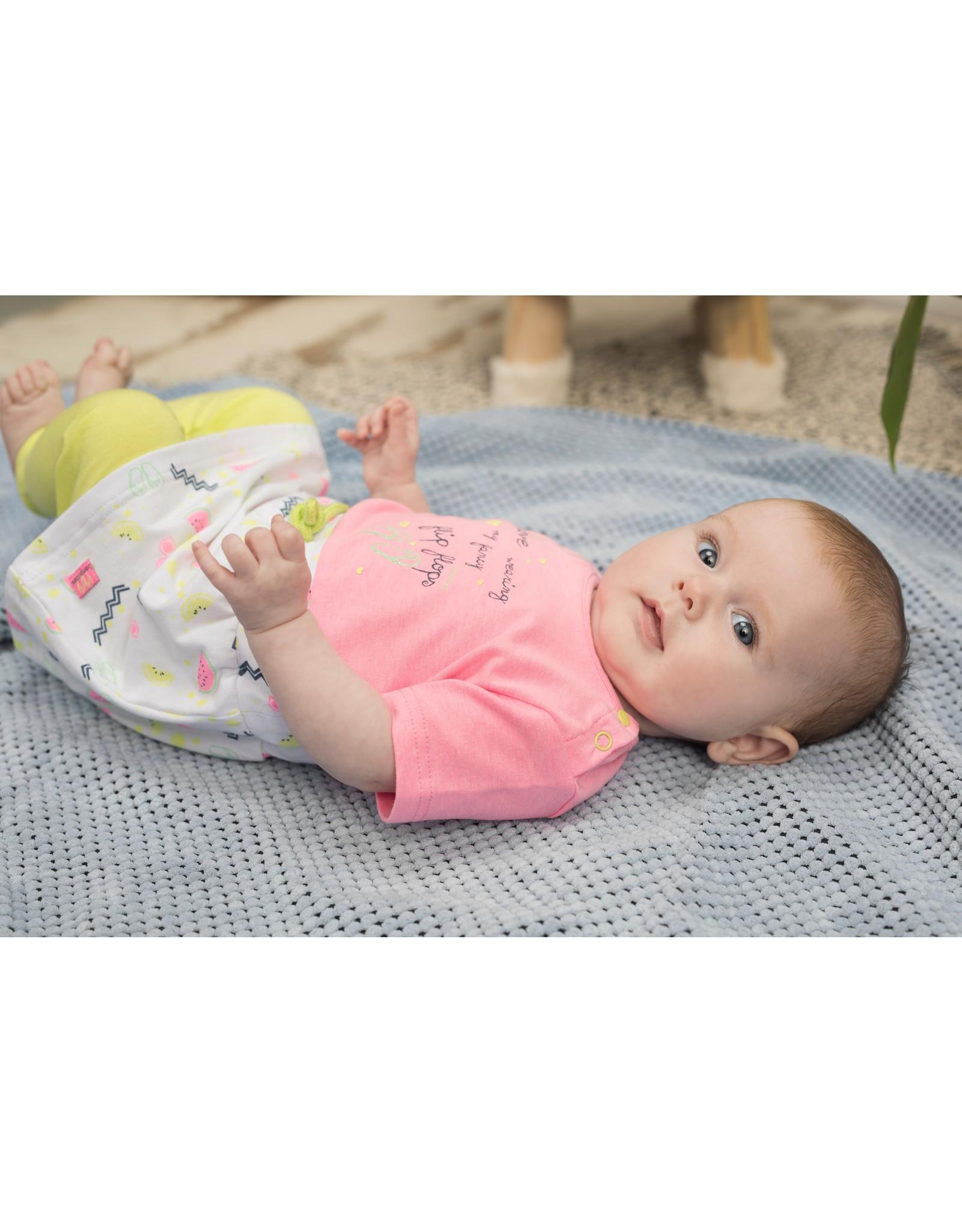 Bampidano Baby Girls multi dress s/s plain top + allover print skirt with waist string, pink
