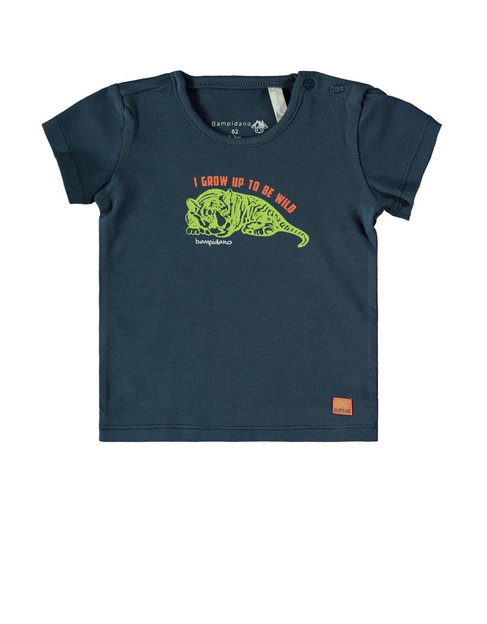 Bampidano Baby Boys T-shirt s/s plain GROW UP / SAFARI, blue