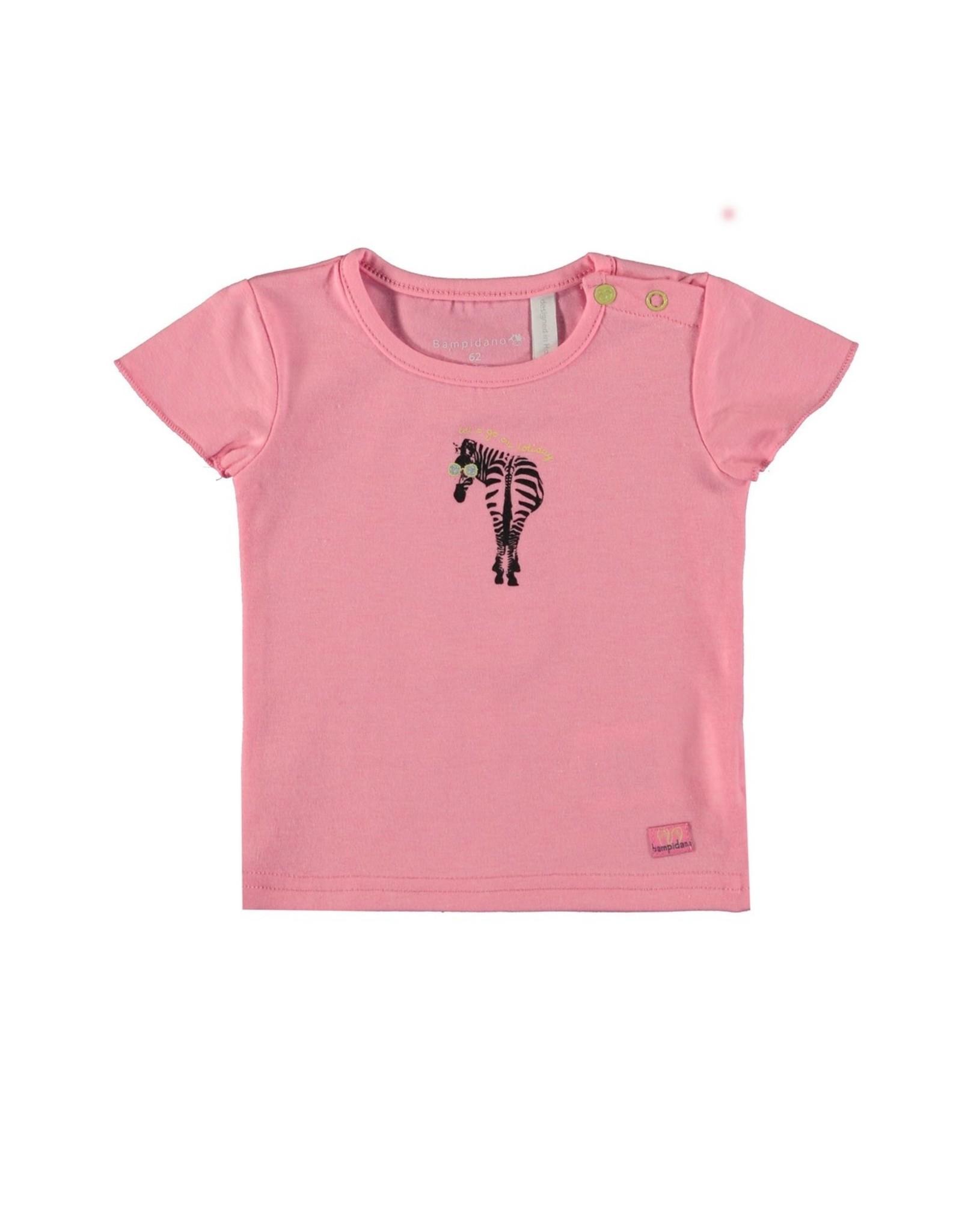 Bampidano Baby Girls T-shirt fancy s/s plain ZEBRA, pink