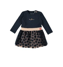 Bampidano Baby Girls multi dress l/s plain top with allover print skirt and netting layers, navy