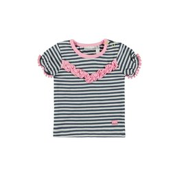 Bampidano Baby Girls T-shirt s/s y/d stripe + ruffles, blue stripe