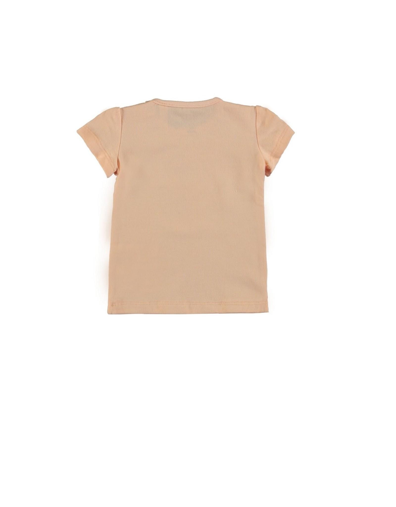 Bampidano Baby Girls T-shirt s/s  plain LA VITA E BELLA / SUNNY DAY / C'EST BON, light pink