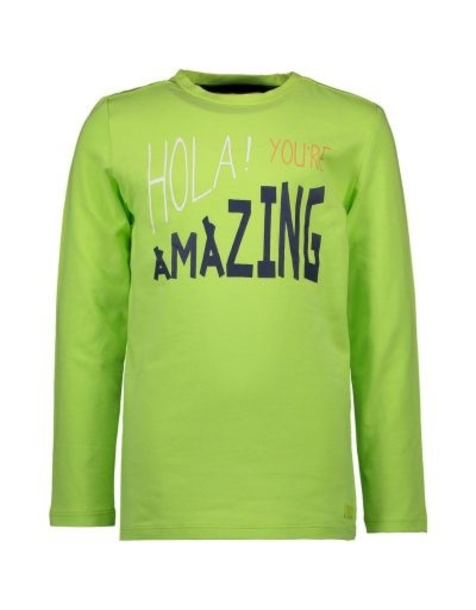 Bampidano Kids Boys T-shirt l/s plain HOLA! YOU'RE AMAZING, bright green