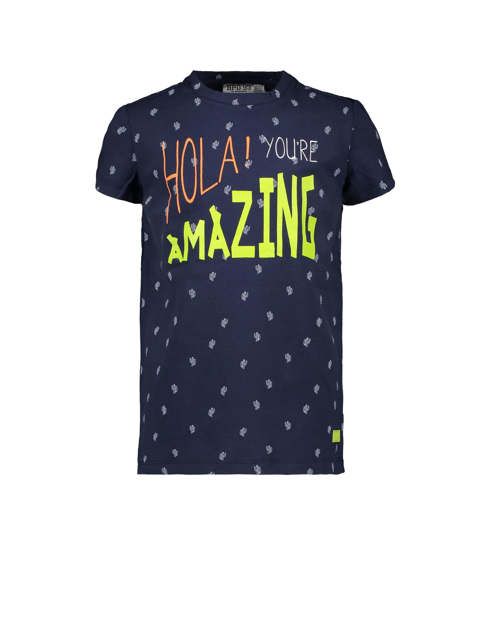 Bampidano Kids Boys T-shirt s/s allover print HOLA! YOU'RE AMAZING, navy allover