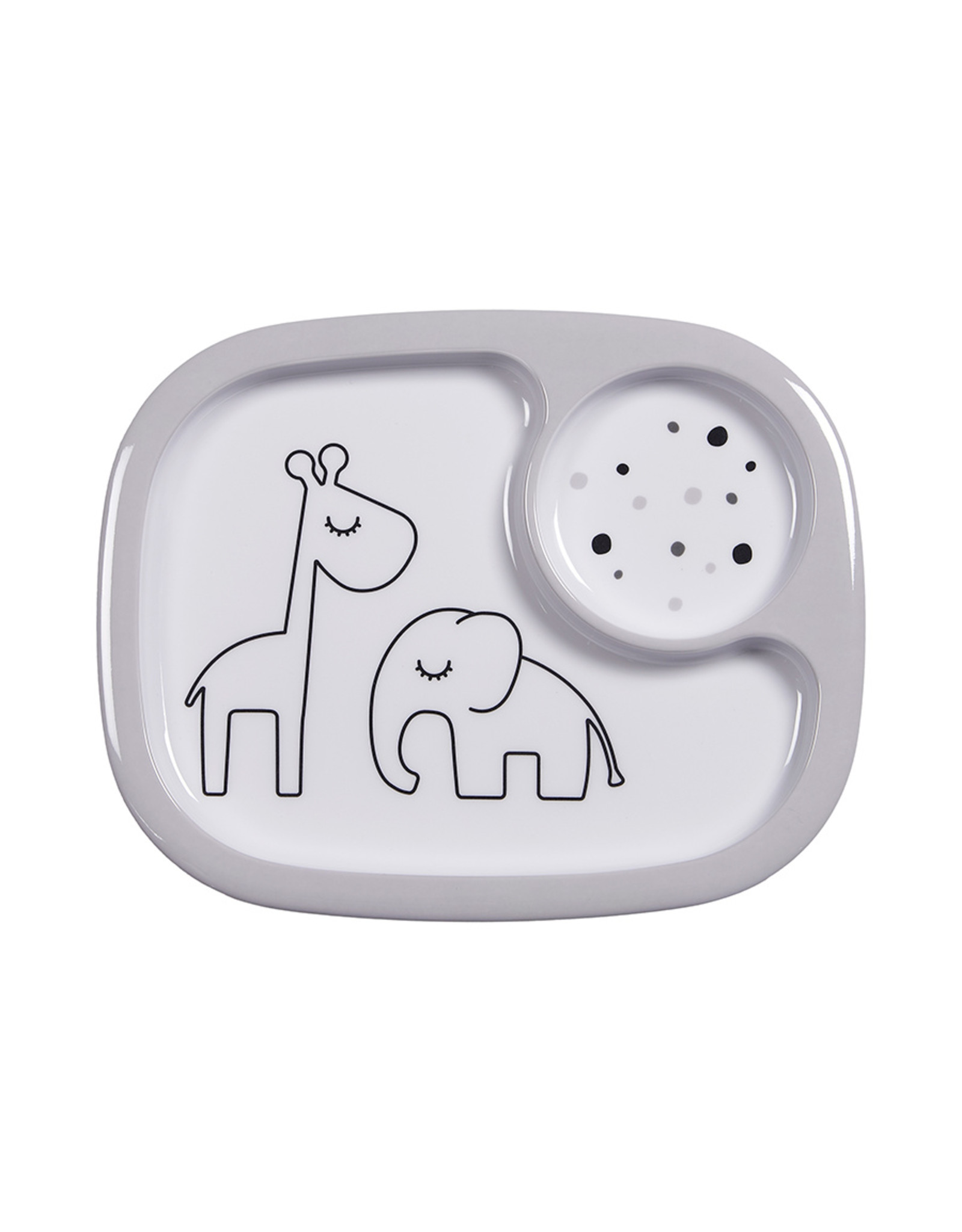 Done by Deer Yummy mini compartment plate Dreamy dots Grey