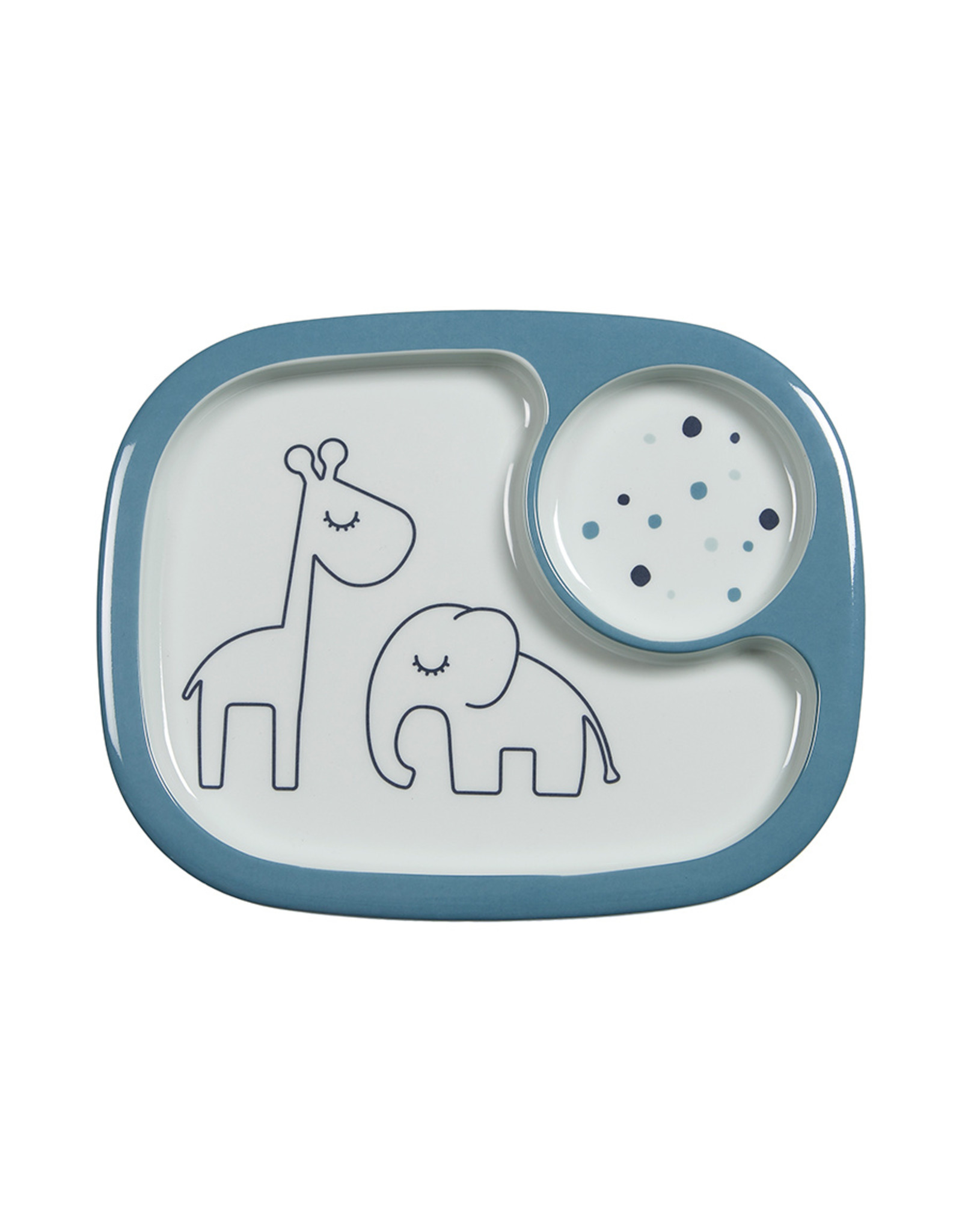 Done by Deer Yummy mini compartment plate Dreamy dots Blue